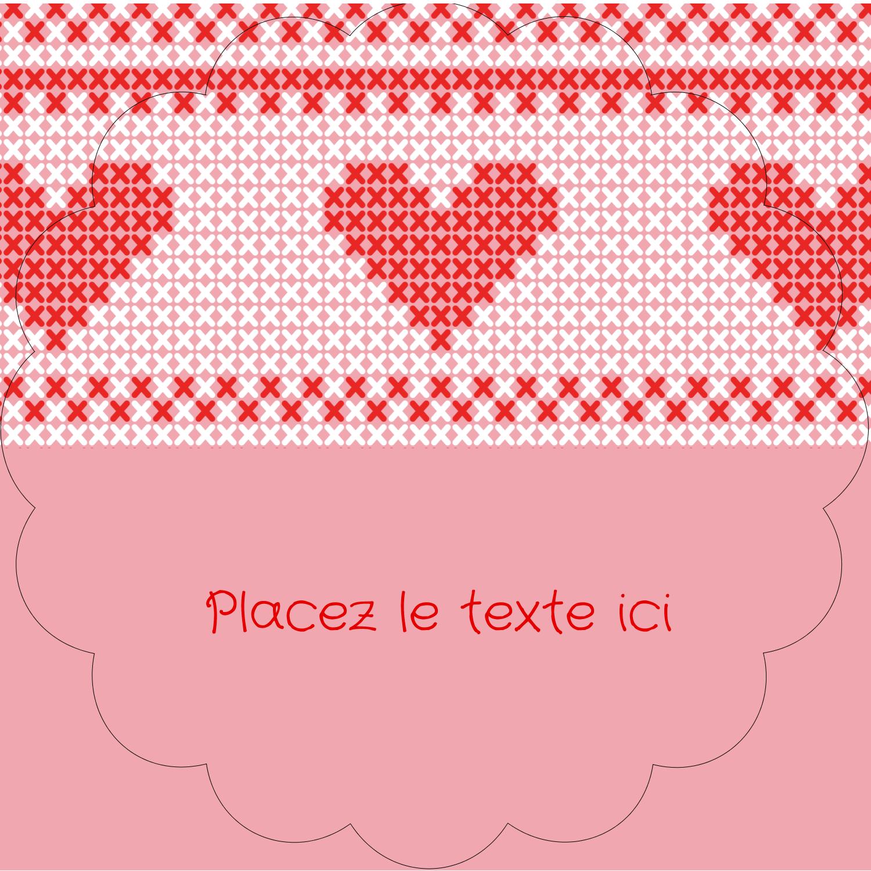 """2½"""" Diameter Étiquettes rondes - Saint-Valentin en point de croix"""
