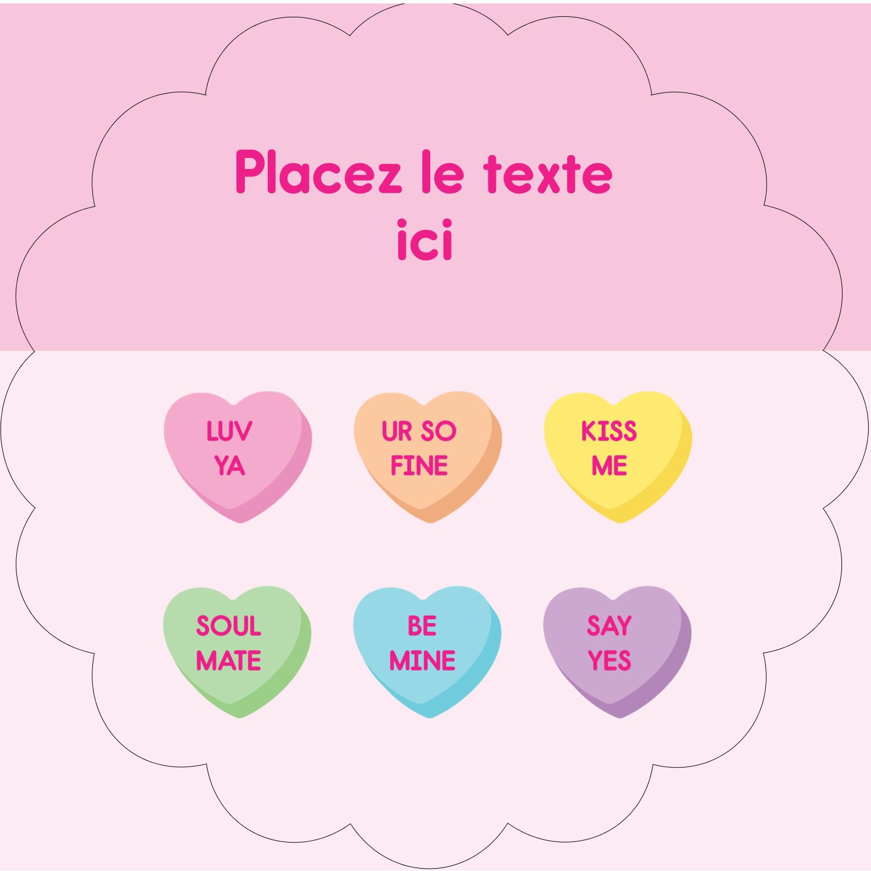 """2½"""" Diameter Étiquettes rondes - Bonbon en cœur de Saint-Valentin"""
