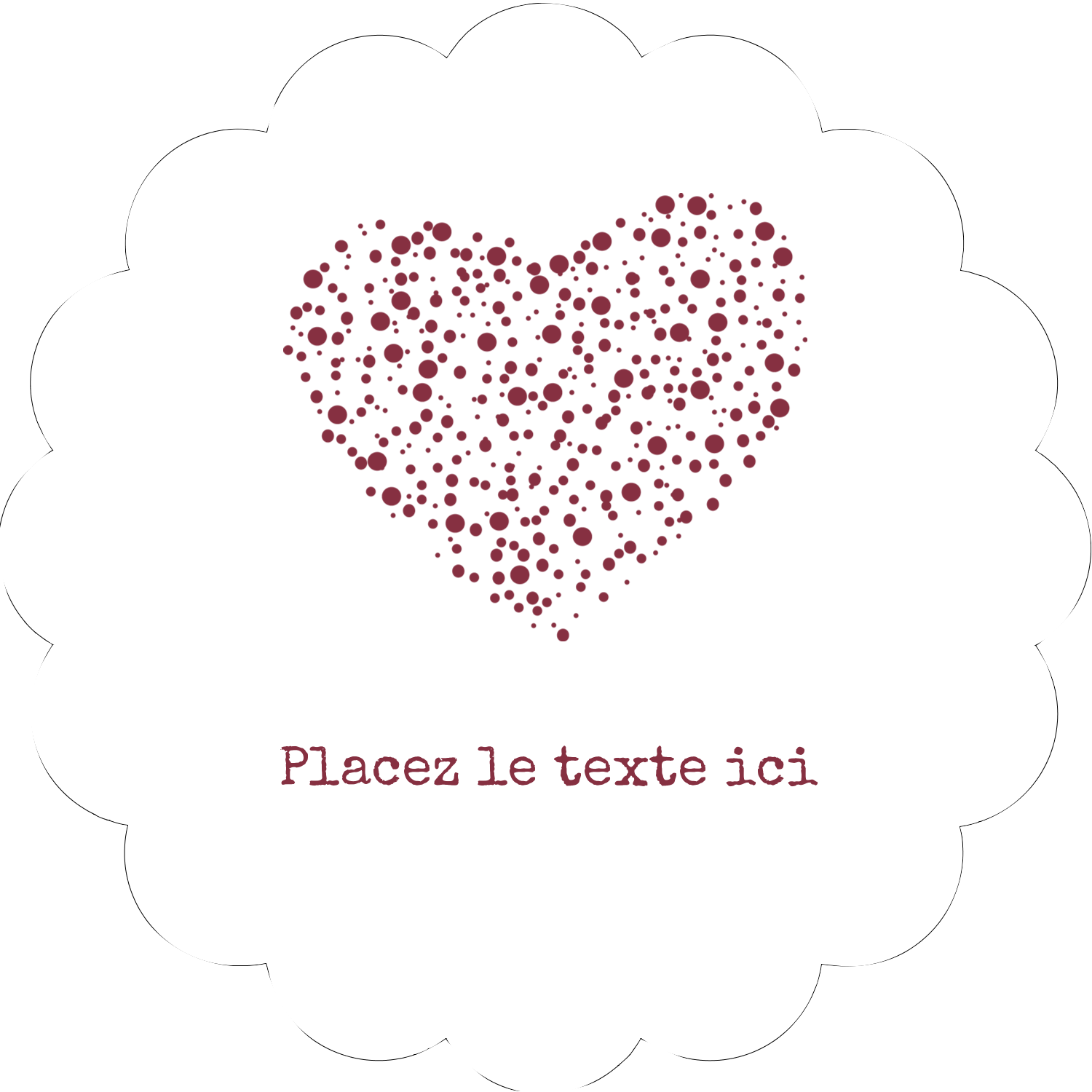 "2"" Scallop Oval Label - Heart Spot"