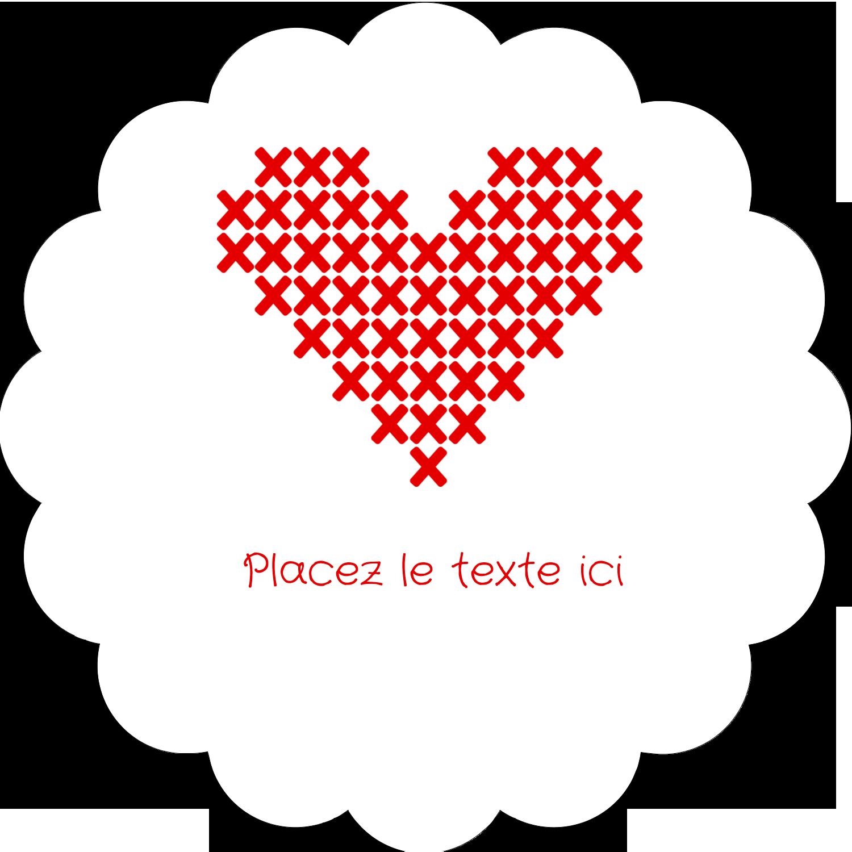 """2"""" Diameter Étiquettes festonnées - Saint-Valentin en point de croix"""
