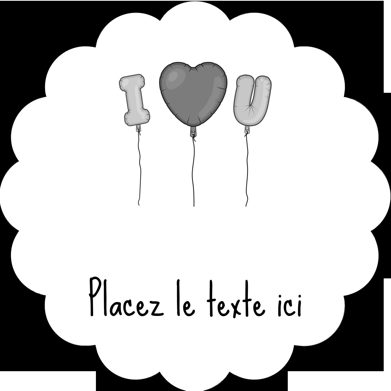 """2"""" Diameter Étiquettes festonnées - Ballon d'amour de Saint-Valentin"""