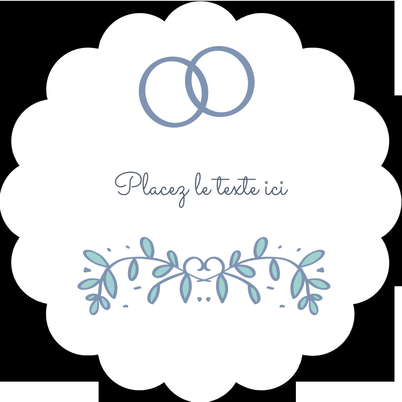 """2"""" Diameter Étiquettes festonnées - Réservez la date bleu"""