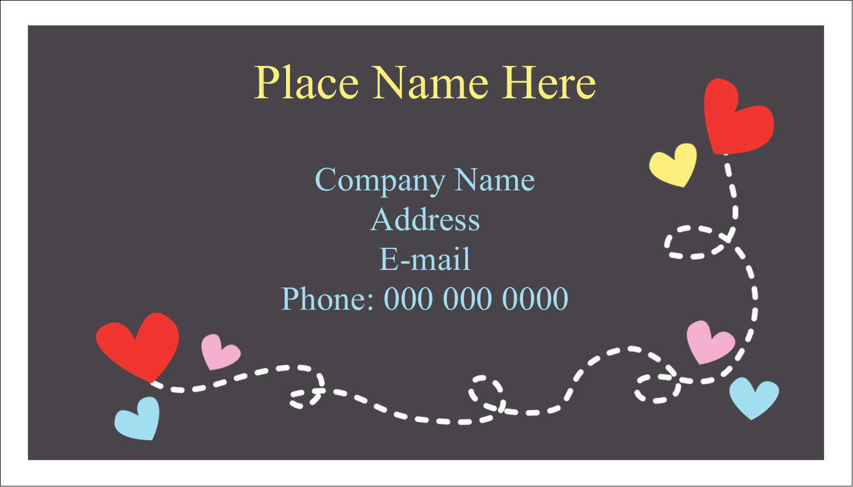 "2"" x 3½"" Business Card - Valentine Black Background"