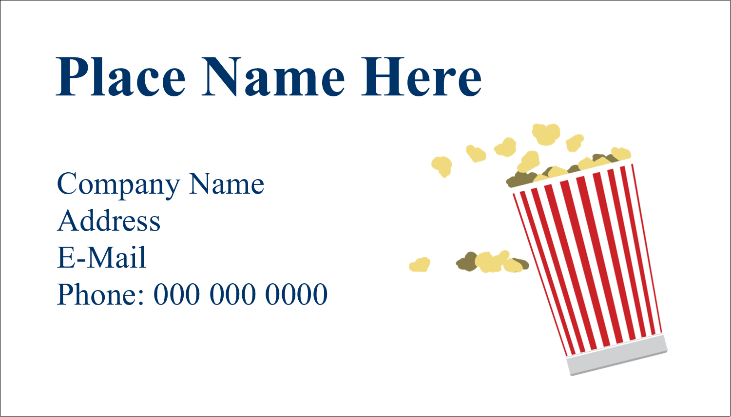 "2"" x 3½"" Business Card - Movie Popcorn"
