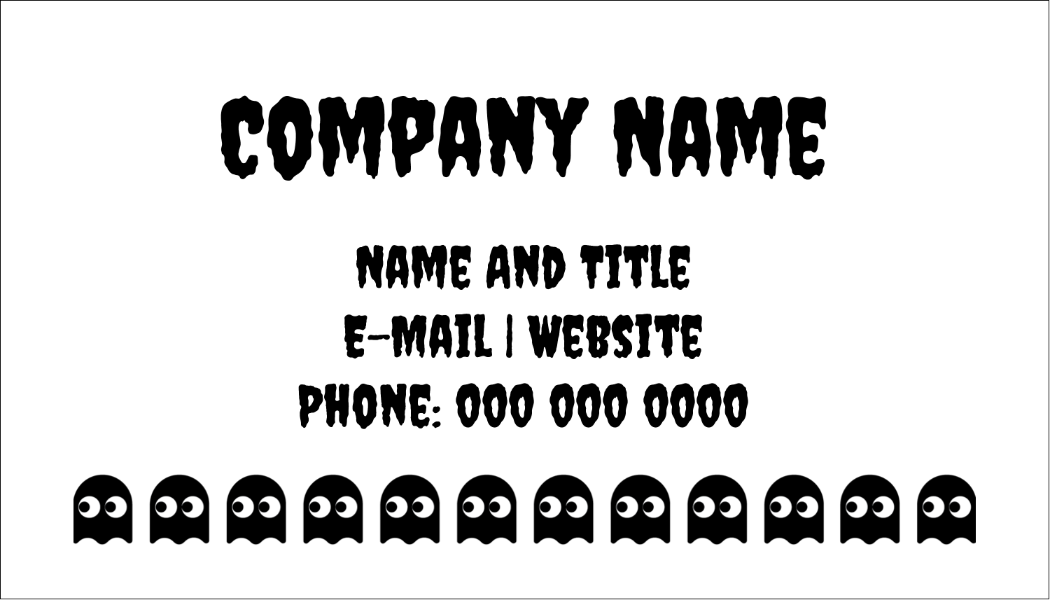 "2"" x 3½"" Business Card - Halloween Pac-Man Ghosts"