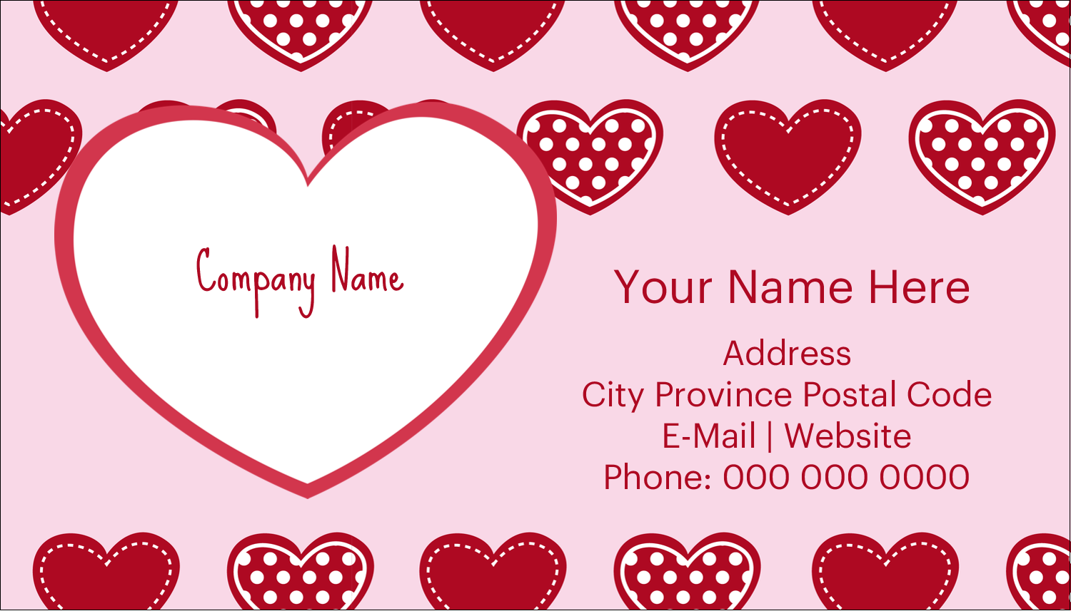 "2"" x 3½"" Business Card - Valentine Heart Pattern"