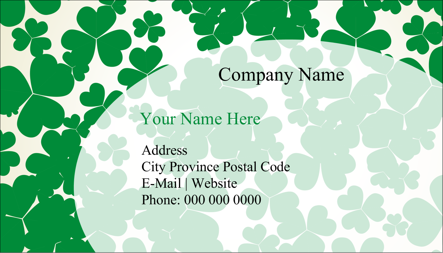 "2"" x 3½"" Business Card - St. Patrick's Shamrock Background"