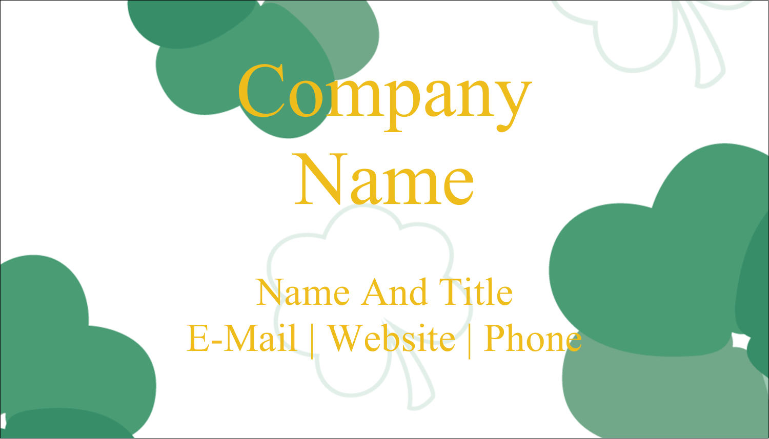 "2"" x 3½"" Business Card - St. Patrick's Heart Shamrocks"