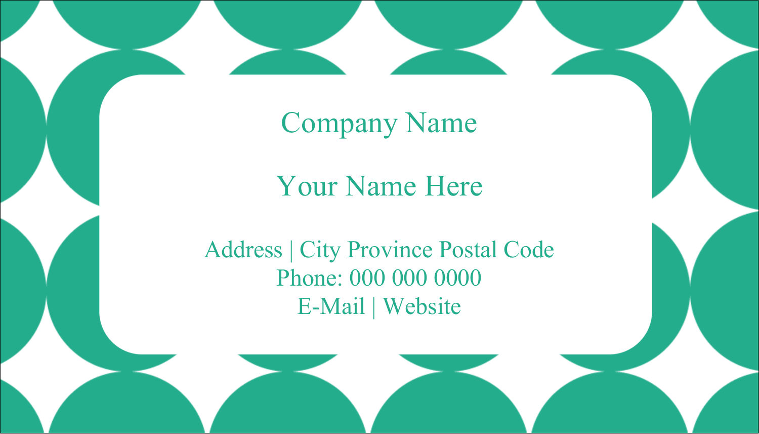 "2"" x 3½"" Business Card - Teal Green Circles"