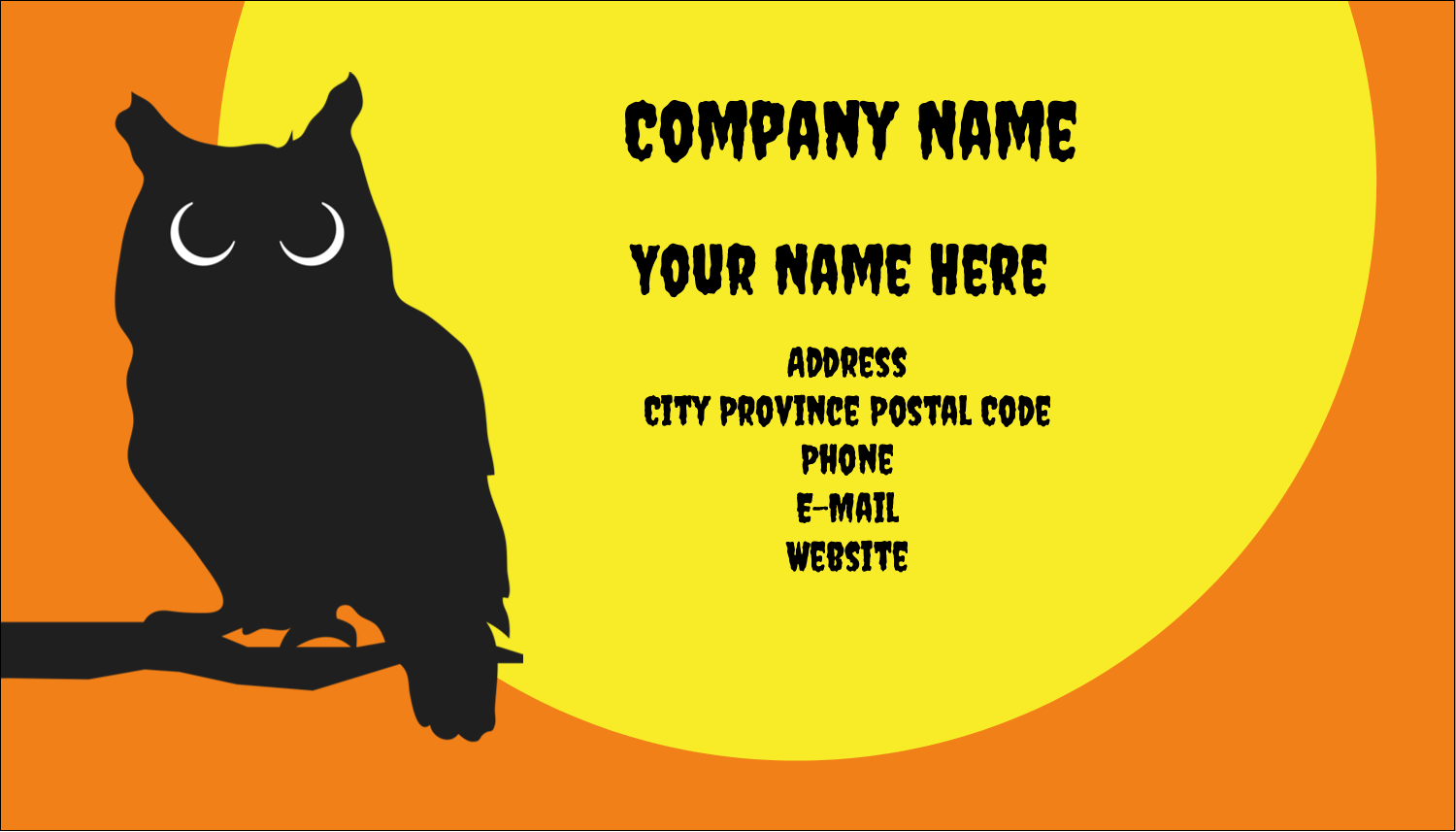 "2"" x 3½"" Business Card - Halloween Owl"