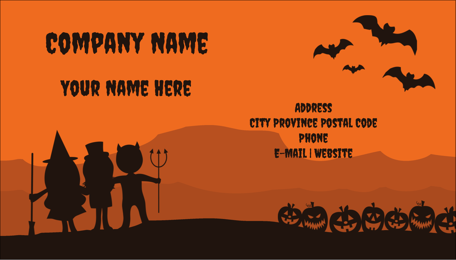 "2"" x 3½"" Business Card - Halloween Kids"