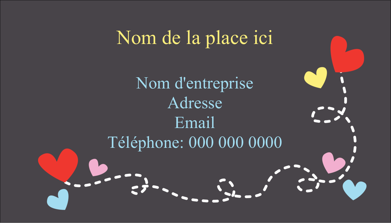 """2"""" x 3½"""" Carte d'affaire - Saint-Valentin sur fond noir"""