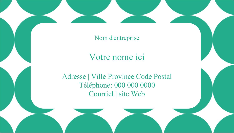 """2"""" x 3½"""" Carte d'affaire - Cercles vert sarcelle"""