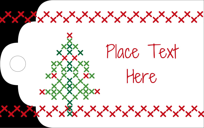 "2"" x 1⅛"" Printable Tags - Cross Stitch Tree"