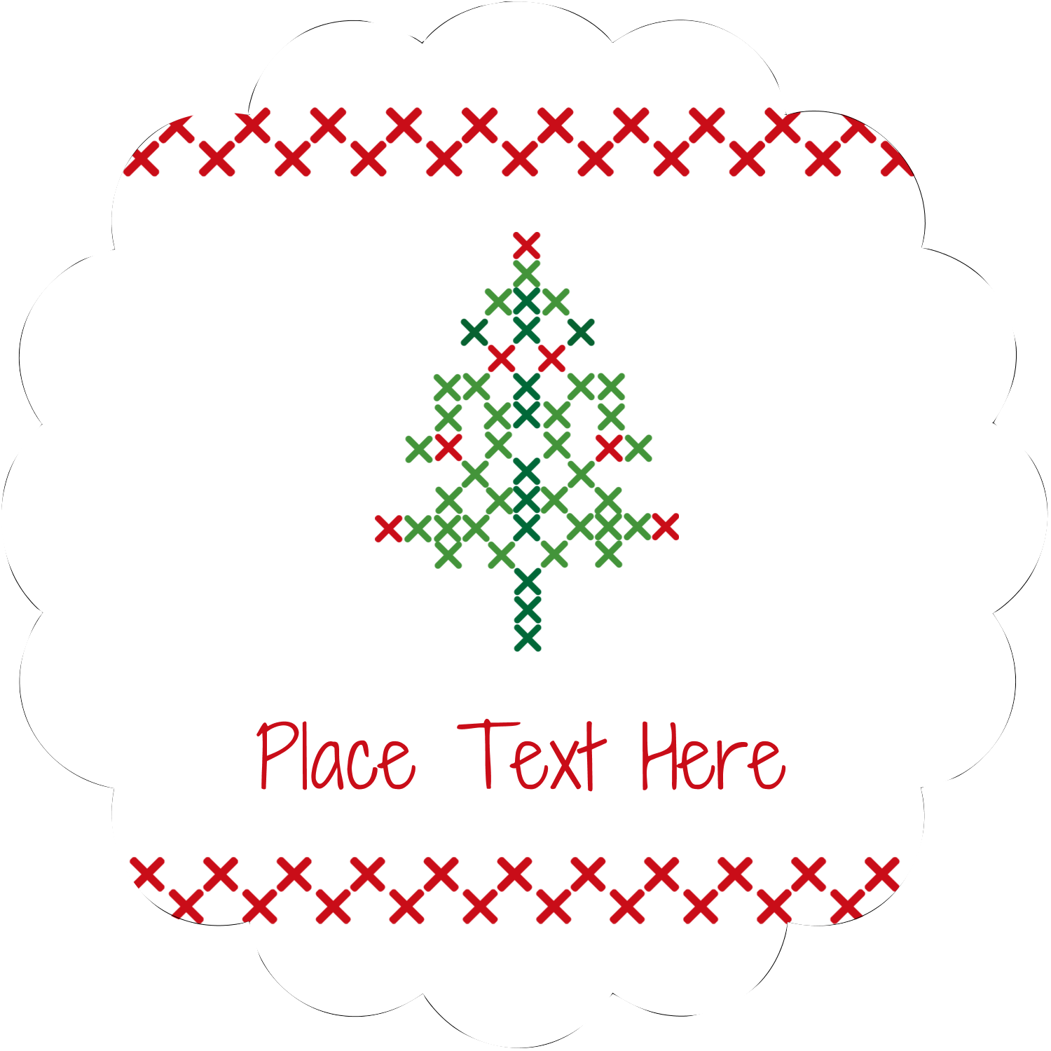 "2½"" Scallop Labels - Cross Stitch Tree"