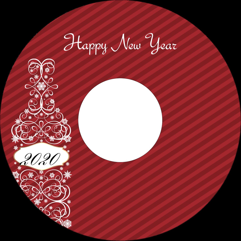 "4.65"" CD-DVD Label - Swirl Champagne Bottle"