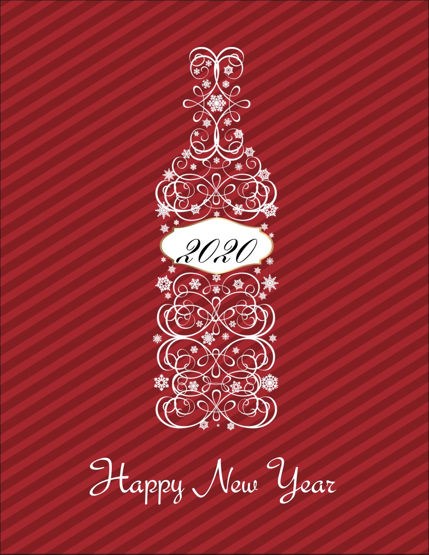 "5½"" x 4¼"" Postcard - Swirl Champagne Bottle"