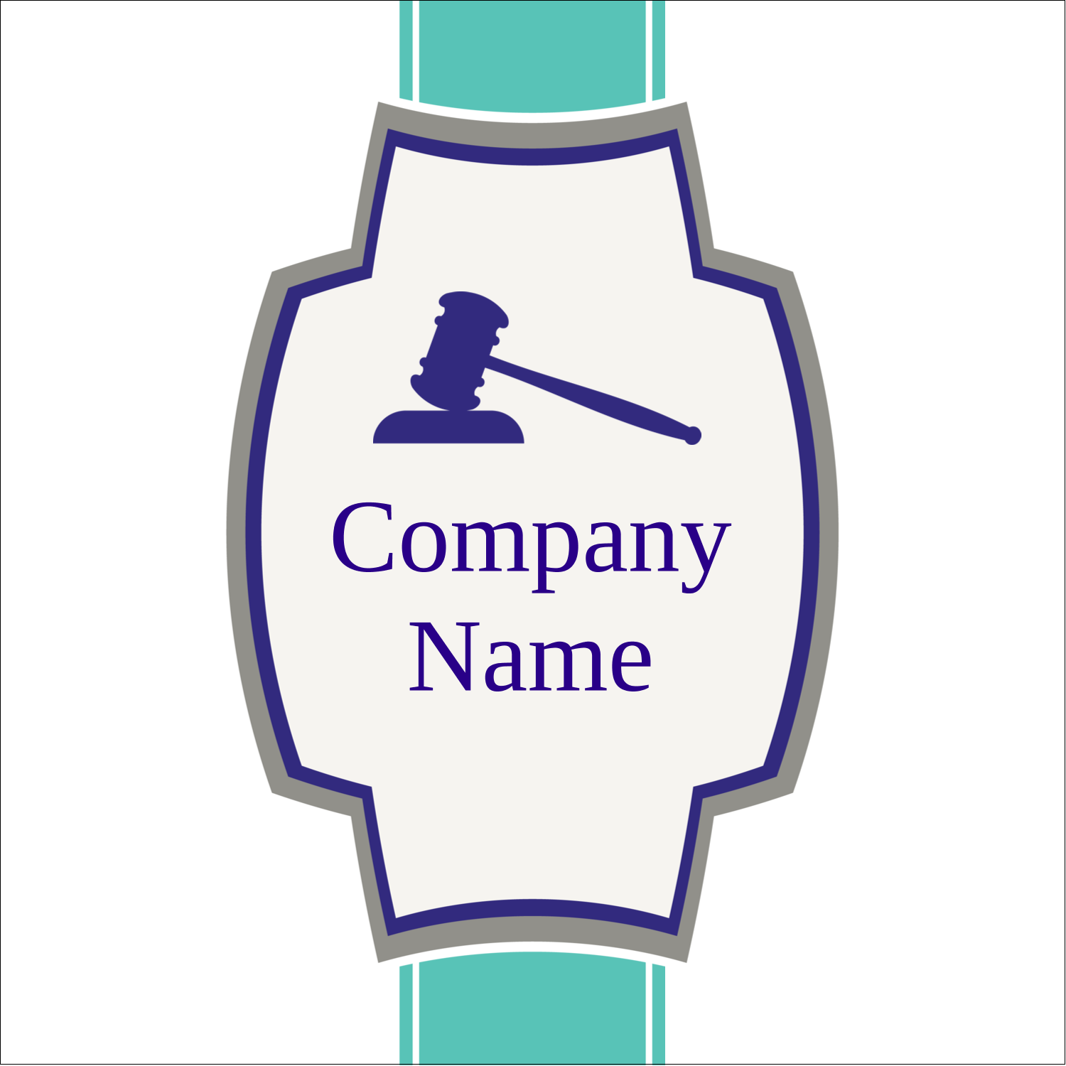 "2"" x 2"" Sqaure Label - Gavel Purple"