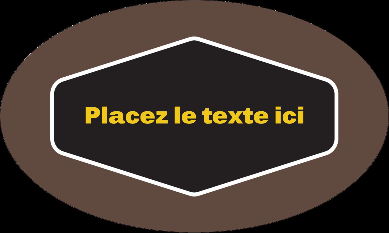 """1½"""" x 2½"""" Étiquettes ovales - Motif géométrique noir"""
