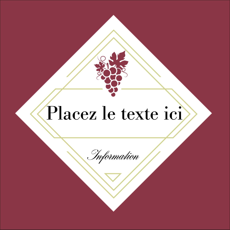 """1½"""" x 1½"""" Étiquettes carrées - Raisins"""