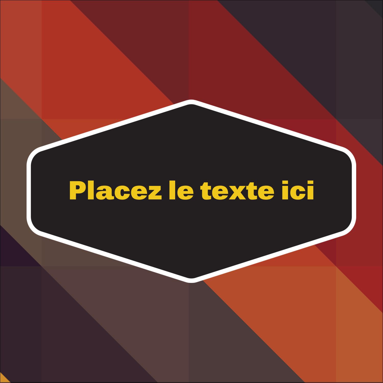 """2"""" x 2"""" Étiquettes carrées - Motif géométrique noir"""