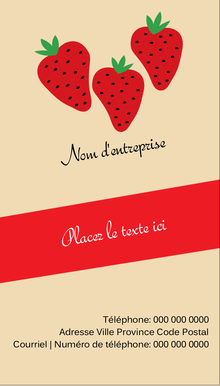 """3½"""" x 2"""" Carte d'affaire - Fraises en conserve"""