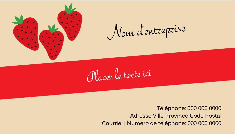 """2"""" x 3½"""" Carte d'affaire - Fraises en conserve"""