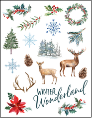 This rustic winter wonderland template will give your project holiday cheer.
