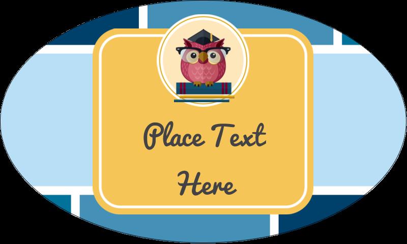 "1½"" x 2½"" Oval Glossy Label - Grad Owl"