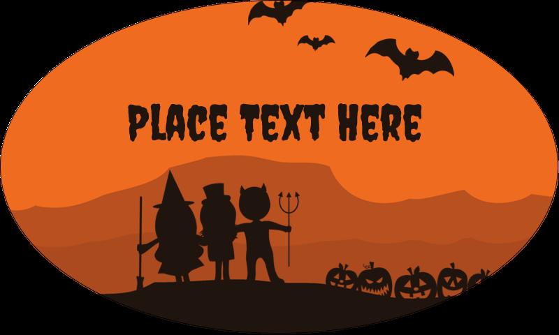 "1½"" x 2½"" Oval Glossy Label - Halloween Kids"
