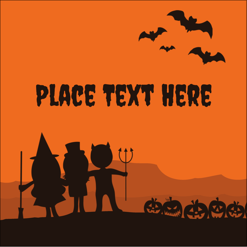 "1½"" x 1½"" Square Label - Halloween Kids"