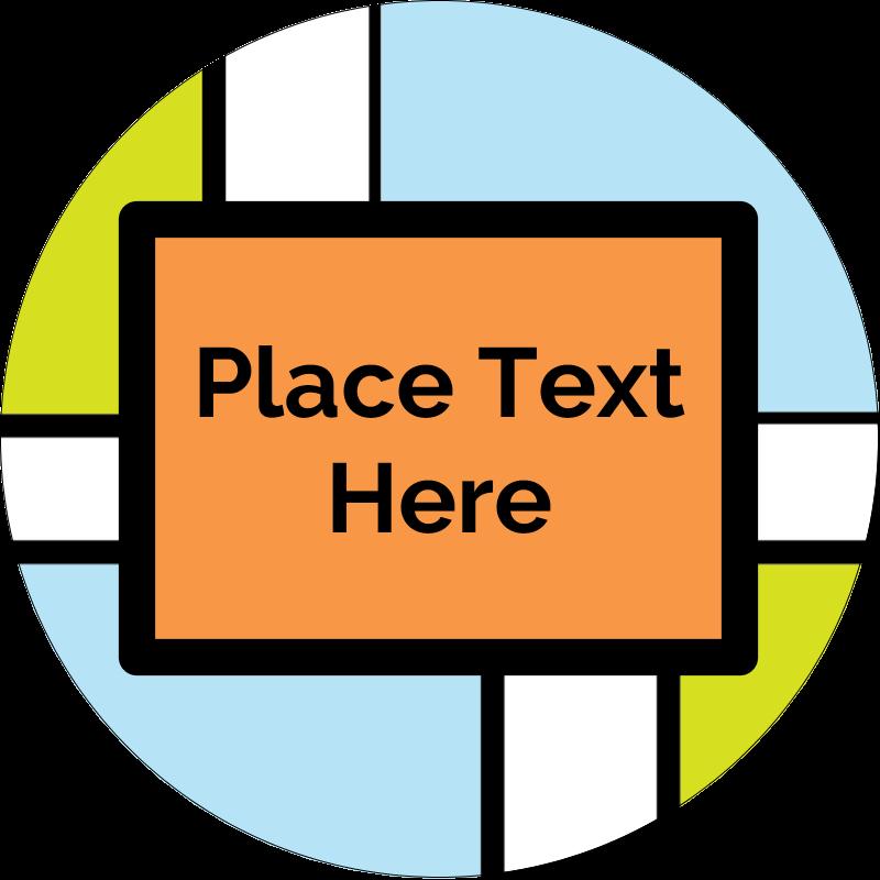 """2"""" Round Label - Mondrian Squares"""