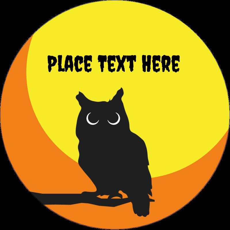 "2"" Round Label - Halloween Owl"