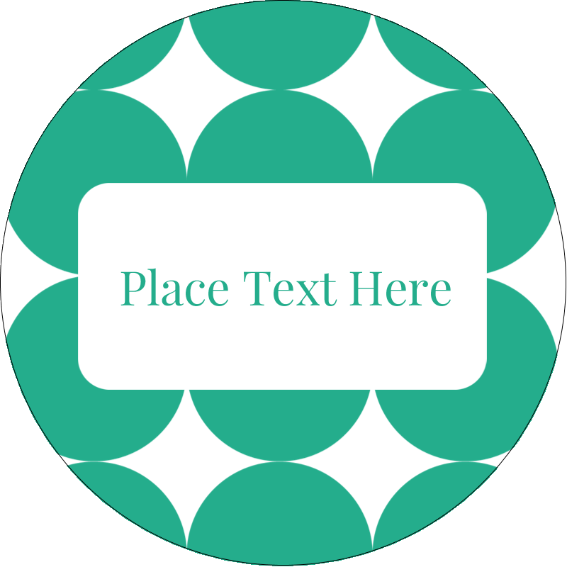 "2"" Round Label - Teal Green Circles"