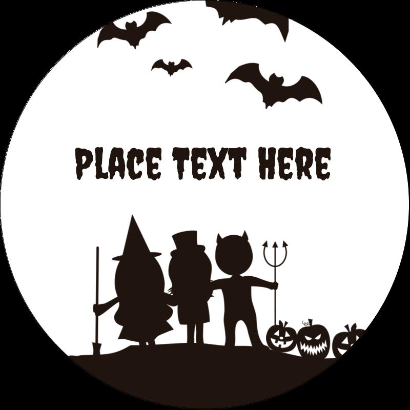 """2½"""" Round Label - Halloween Kids"""