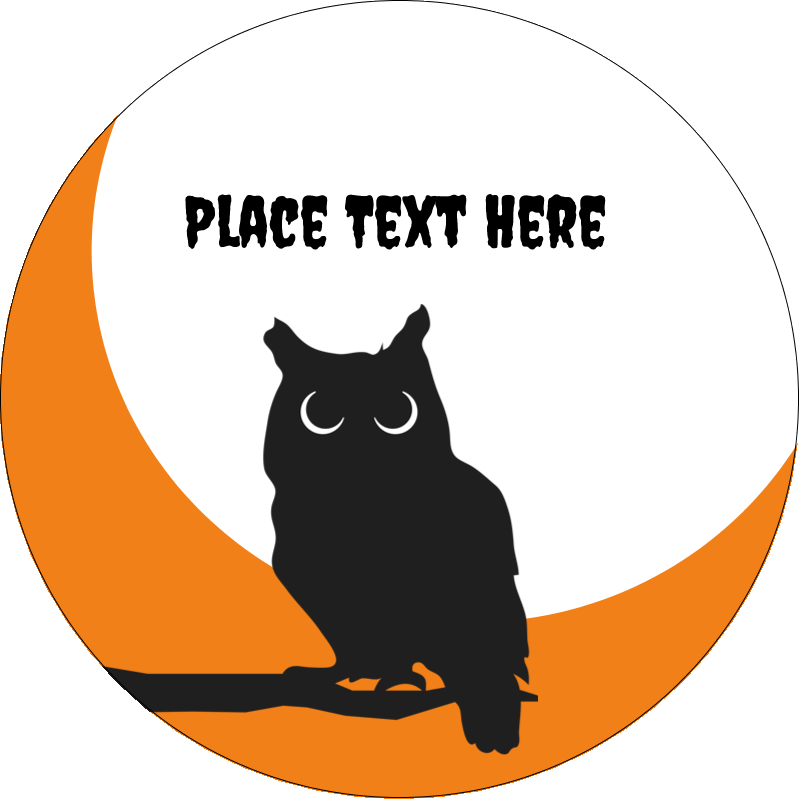 "2½"" Round Label - Halloween Owl"