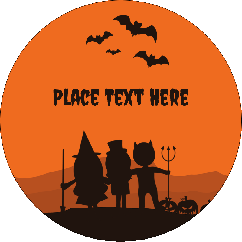 "2½"" Round Label - Halloween Kids"