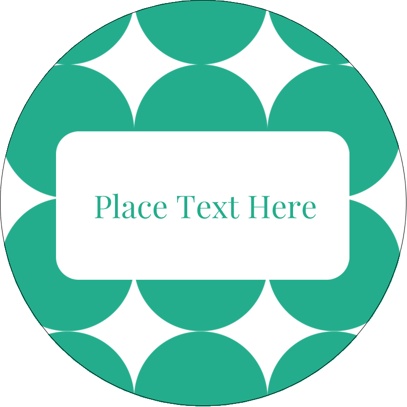 "2½"" Round Label - Teal Green Circles"