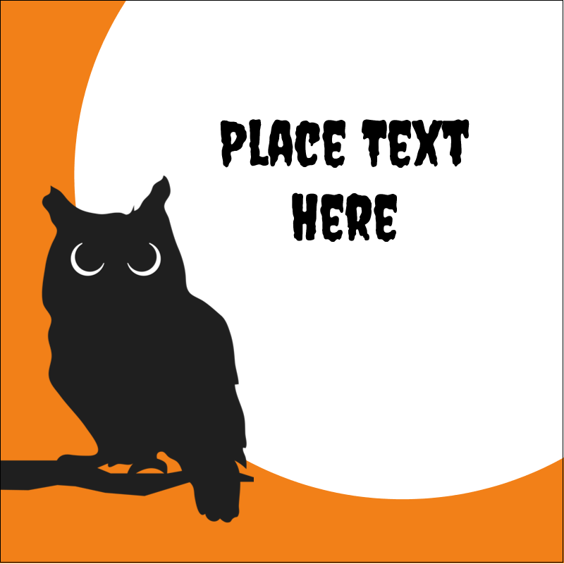 "2"" x 2"" Sqaure Label - Halloween Owl"