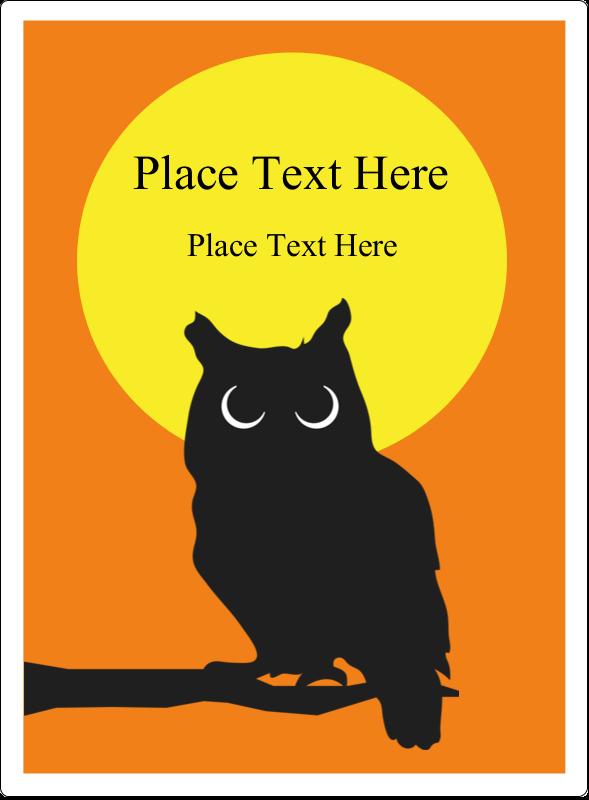 "4¾"" x 3½"" Rectangular Label - Halloween Owl"