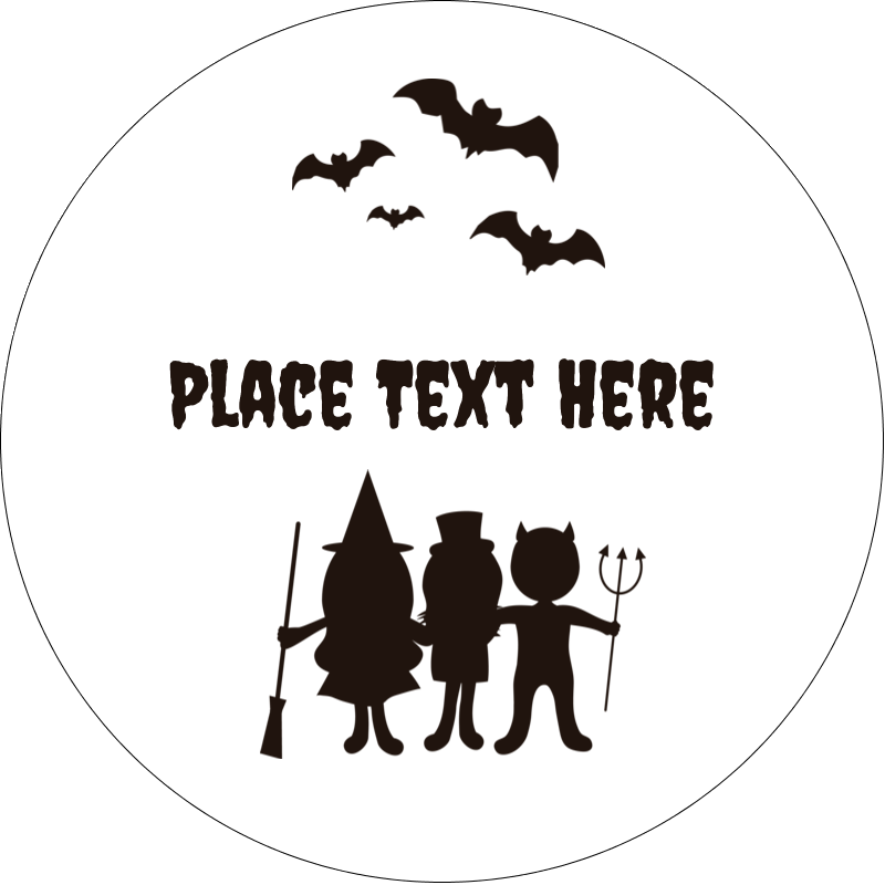 "2"" Embossed Round Label - Halloween Kids"