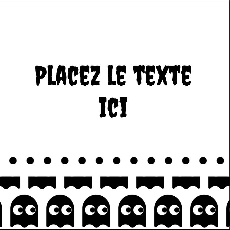 """2"""" x 2"""" Étiquettes carrées - Fantômes Pac-Man d'Halloween"""