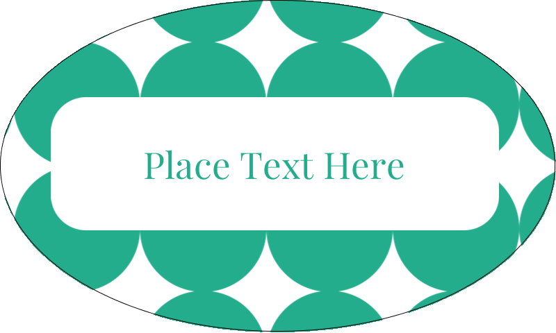 "1½"" x 2½"" Oval Glossy Label - Teal Green Circles"