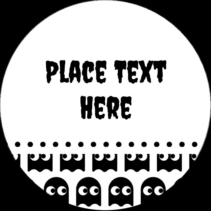 """2½"""" Round Label - Halloween Pac-Man Ghosts"""