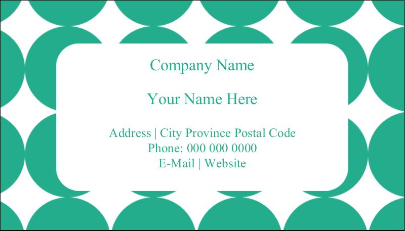 "2"" x 3½"" Business Card - Teal Green Circles"