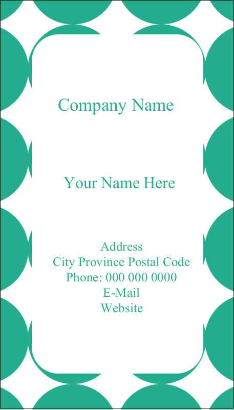 "3½"" x 2"" Business Card - Teal Green Circles"