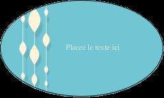 """1½"""" x 2½"""" Étiquettes ovales - Rideau de perles bleues"""