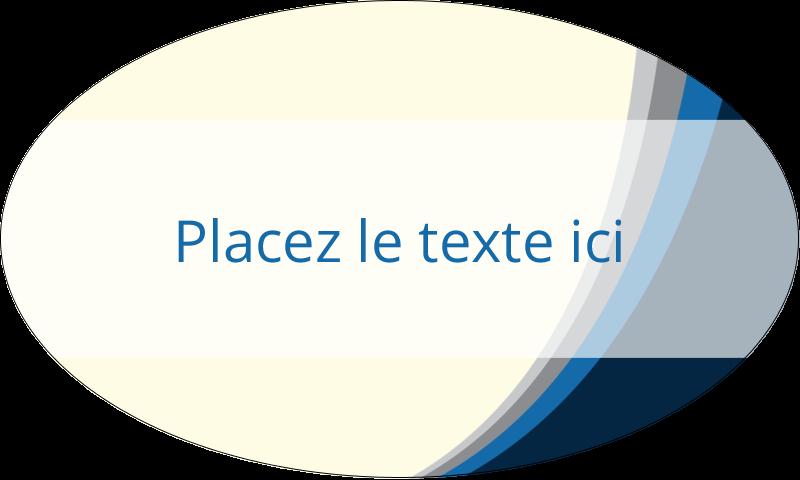 """1½"""" x 2½"""" Étiquettes ovales - Vague bleue"""