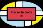 Carrés Mondrian rouges Étiquettes ovales - gabarit prédéfini. <br/>Utilisez notre logiciel Avery Design & Print Online pour personnaliser facilement la conception.