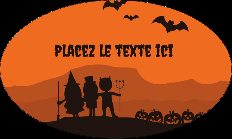 """1½"""" x 2½"""" Étiquettes ovales - Enfants à l'Halloween"""